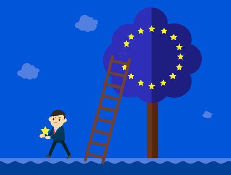 migration: Business man in suit goes out from a European Union tree.Brexit Great Britain EU exit concept vector