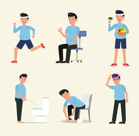 Man flat character activity healthy life style set vector. Illustration