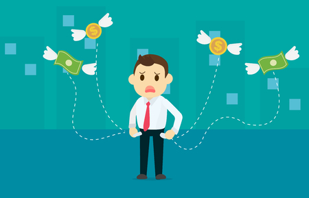 Zakenman geld verliezen met dollar en munten vleugel vliegen weg van zak met stad achtergrond vector illustratie