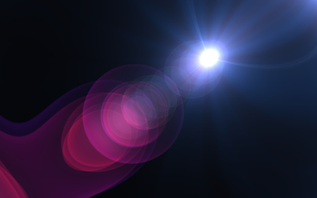 Abstract cross rainbow digital lens flare with black background Stock Photo