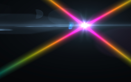 rainbow abstract: digital lens flare in black background