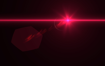 Lens flare light over black background. easy to add overlay or screen filter over Photos Stock Photo
