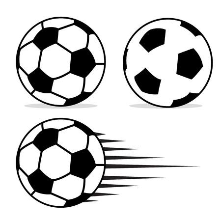 soccer goal: Football ball flat design set with isolated on white background vector. Soccer ball pictogram. Football logo design vector illustration