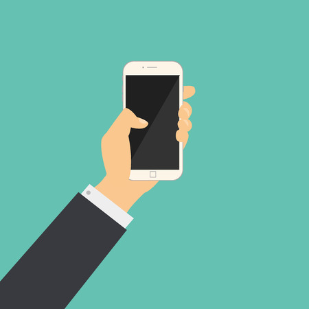 using tablet: Flat business hand hold a phone with blank screen vector.Hand with mobile phone vector Illustration