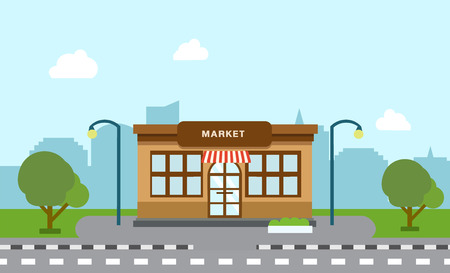Shop store building on street with tree and silhouette building background.Scene of market and city with sky background vector illustration