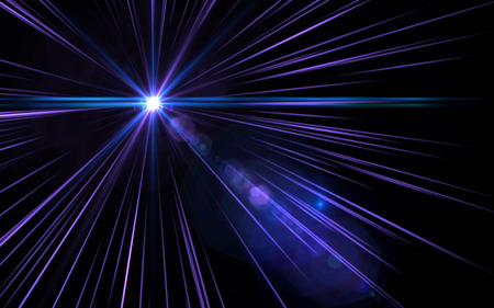 Abstract lens flare speed violet light on black background