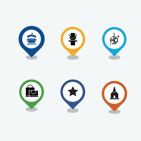 Pin avec jeu d'icônes de vecteur de voyage. Temple, star, disco, sac, musée et bateau pin icônes vectorielles. Illustration