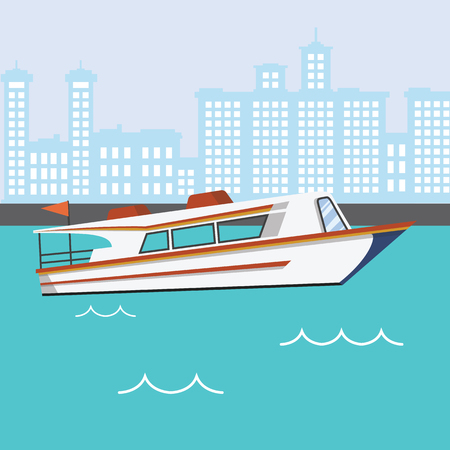 Modern Speed Boat in river with buildings background vector illustration.