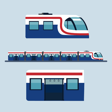 Sky train Station Flat Design Objects, Side View with head part and body part. Vettoriali