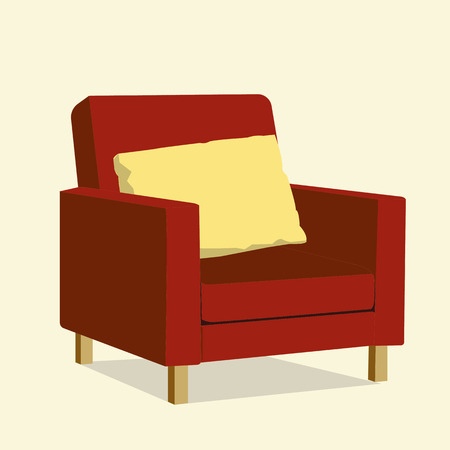 home office interior: Red luxury chair with yellow pillow.Luxury sofa in living room.