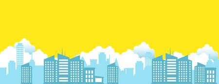 町や都市の風景  イラスト・ベクター素材