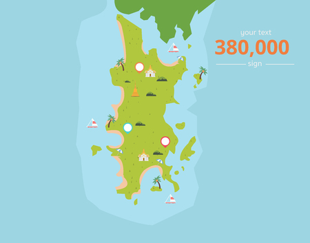 Thailand tropical islands with culture icons and text vector illustration.Phuket island in Thailand.Island map in Asia.