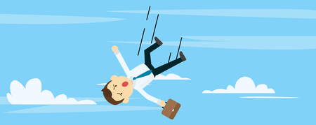 Young businessman fall down with sky background vector illustration.Fail to working concept.