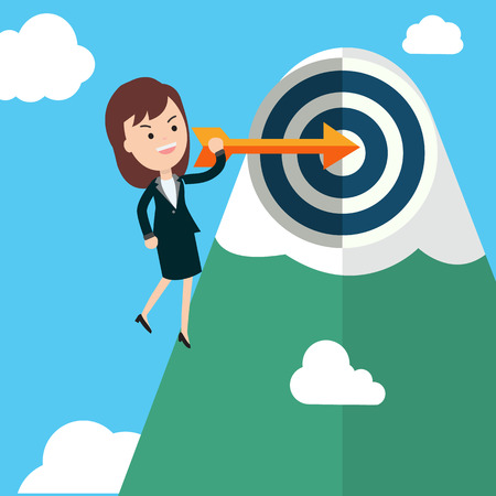 Businesswoman hold arrow and shoot to the goal with mountain and sky background vector illustration.Success goal business concept illustration