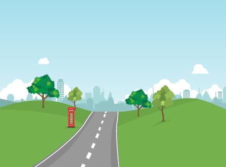 Park der Straße öffentlich mit Naturlandschafts- und Gebäudehintergrundvektorillustration Hauptstraßenbildvektor Weg zur Stadt und zur Natur herum. Standard-Bild - 87920016