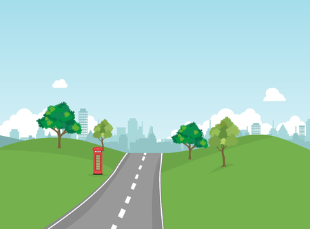Street in public park with nature landscape and building background vector illustration.Main street scene vector.Pathway to city and nature around. Ilustração