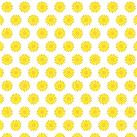Flat yellow sunflower blooming pattern background vector illustration.Fresh sunflower pattern.
