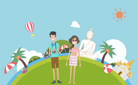 Tourism travel to Thailand with traditional and nature background vector illustration.Couple in holiday summer.Phuket culture in Thailand.