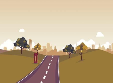 Via in parco pubblico con il paesaggio della natura e fondo di costruzione sull'illustrazione recente di tramonto Scena della via principale. Passa a città ed alla natura intorno. Archivio Fotografico - 88221651