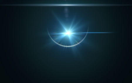 Abstract lens flare light over black background.Beautiful flare effect on space background