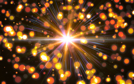 Abstract digital lens flare in black and bokeh background horizontal frame.Beautiful bokeh and flare.