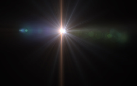 abstract vertical lens flare light over black background