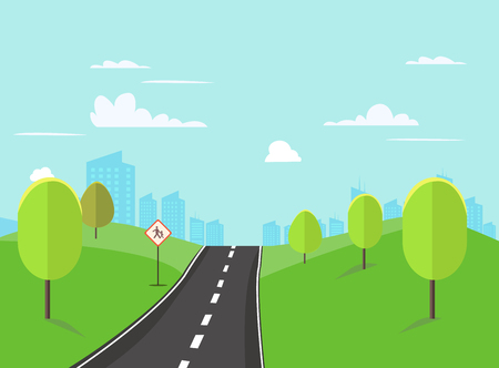 Street in public park with nature landscape and building background vector illustration.Main street scene vector.Pathway to city and nature around. Illustration