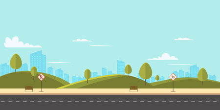 Street in public park with nature landscape and building background vector illustration.Main street scene with public sign vector.City street with sky background. Ilustração
