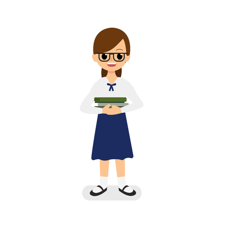 Cute girl Thai student holding books vector with isolated white background.Hard study girl concept.Girl cartoon character design
