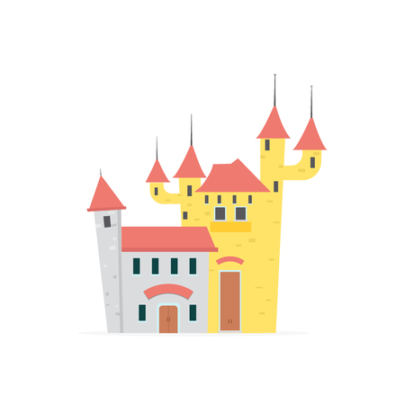 Flat cartoon castle with isolated white background vector illustration Иллюстрация