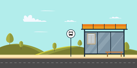Bus stop on main street city.Public park with bench and bus stop with sky background.Vector illustration Çizim