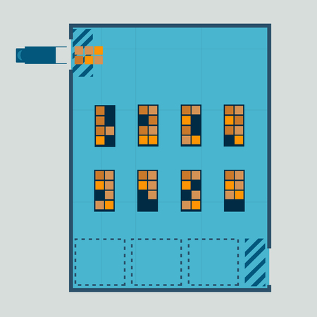 Layout of warehouse from top view vector illustration.Truck with arrange product in warehouse