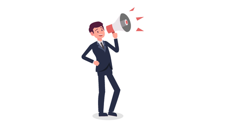 Businessman cartoon holding megaphone with isolated white background vector.Young man shouting with megaphone.Find job concept