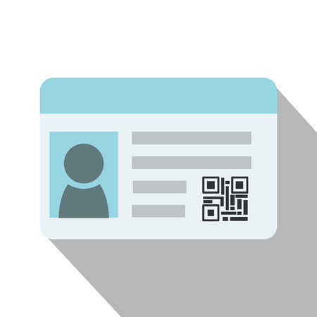 Flat Identification card and qr code with isolated white background vector. Illustration