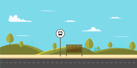 Bus stop on main street city.Public park with bench and bus stop with sky background.Vector illustration Иллюстрация