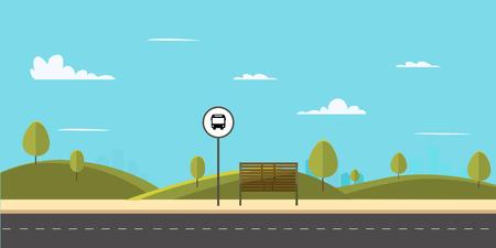 Fermata dell'autobus sulla strada principale city.Parco pubblico con panchina e fermata dell'autobus con lo sfondo del cielo.Illustrazione di vettore Vettoriali