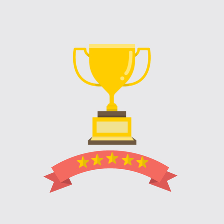 Flat gold Trophy with ribbon and five stars vector illustration.Award and success concept.Golden cup for winner. Ilustração