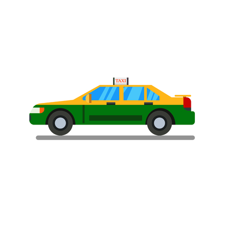 Thai Taxi flat design with isolated white background vector.Thai personal taxi-meter cab flat design style