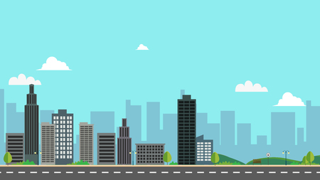 Cityscape with park and sky background vector illustration.Town design with main street and clouds.Street road with city landscape.