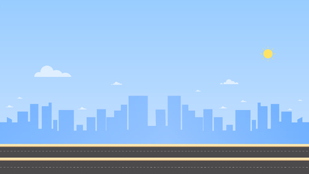 Cityscape with main street and sky background vector illustration. Urban landscape. Daytime cityscape in flat style.