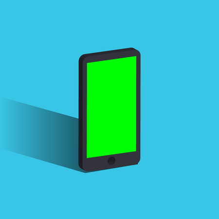 Vector 3d realistic cell phone. smartphone with green screen and original design
