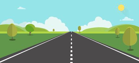 Route vers la nature backgroud illustration vectorielle. Rue avec champ, collines, nuages, arbres et soleil. Beau paysage naturel.