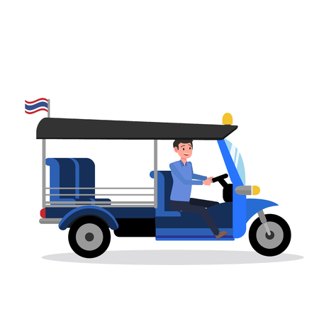 Tuk TukThailand design with driver and isolated white background vector.Taxi driver Bangkok Thailad.