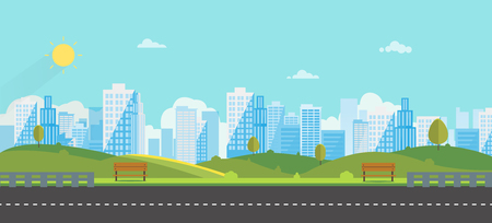 Public park with bench main street city with sky and city background.Beautiful nature scene with town and hill.Clean spring amazing scenery. Vector illustration.Road with urban 向量圖像