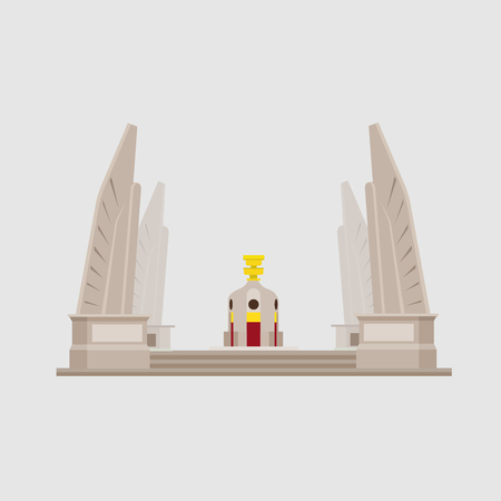 Thailand Monuments and Statues Objects Vector.Modern buiding icon Thailand;  イラスト・ベクター素材