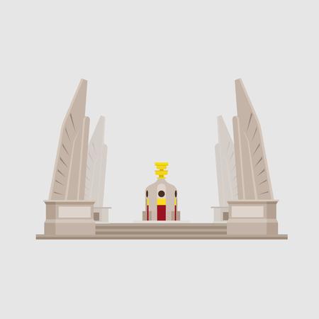 Vector de objetos de monumentos y estatuas de Tailandia. Icono de edificio moderno Tailandia;