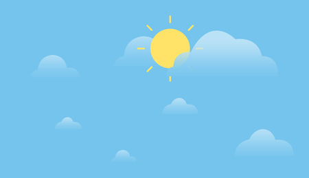 Sunshine with clouds and sky background.Simple summer sky design.Daytime concept