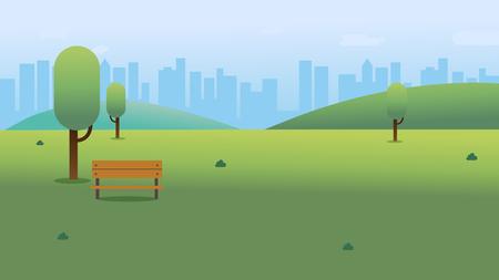 Parco pubblico con panchina in città con sfondo cielo e paesaggio urbano. Bella scena della natura con città e collina. Paesaggio primaverile pulito. Illustrazione vettoriale Vettoriali