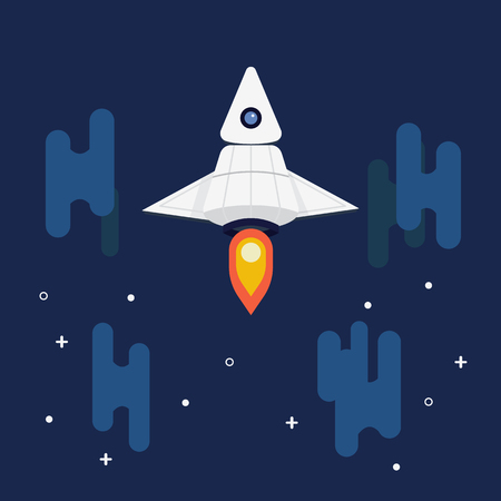 Flat spcaeship design travel in space.Spacecraft cartoon launch to night sky.Rocket with clouds and star.