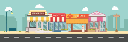 City street and store buildings vector illustration, a flat style design.Business storefront in urban.Public store on main street.Urban scene in midday Vector Illustration